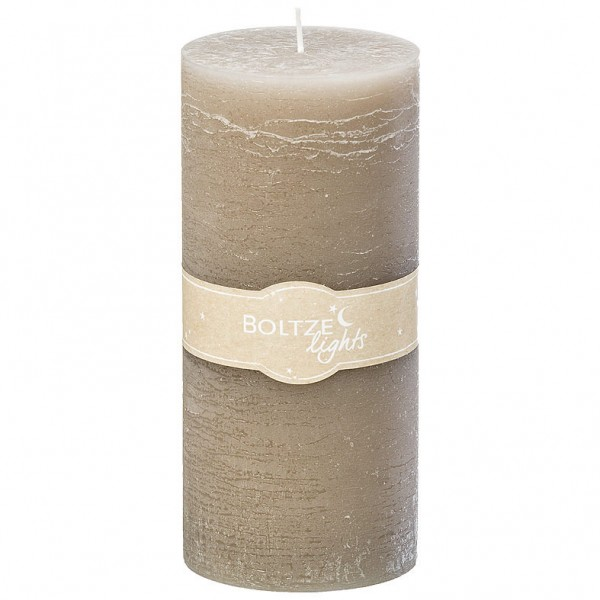 Grey Rustic Pillar Candle