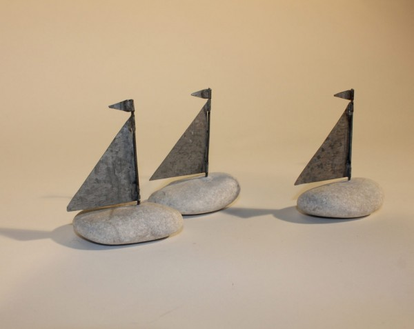 Set of Pebble Boat Paperweights