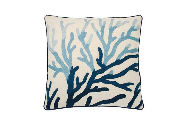Embroidered Coral Cushion