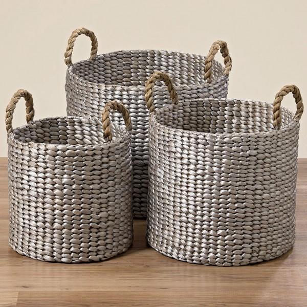 Silver Water Hyacinth Basket