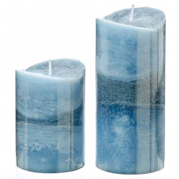 Ocean Blue Pillar Candle
