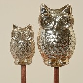 Mercury Glass Owl Garden Stick