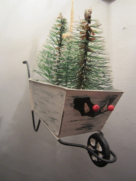 Snowman's Wheelbarrow Tree Hanger