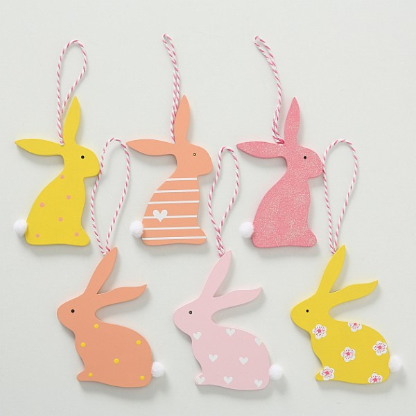 Set 6 Hanging Easter Bunnies
