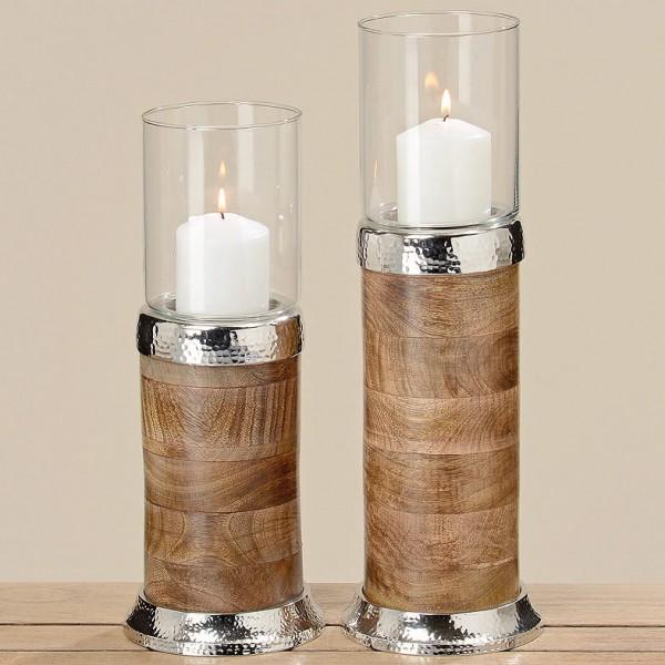 Mango Wood Colum Windlight