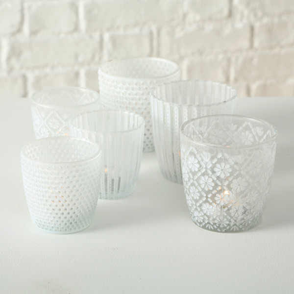 White Tealight Holder Set 2