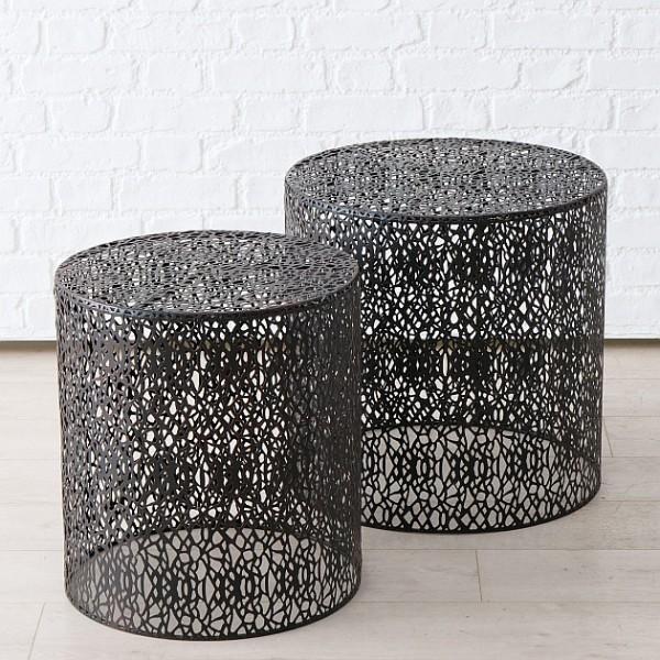 Grey Fretwork Side Table